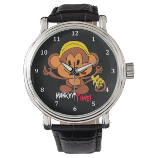 Cute Monkey Time Watch with Chinese Character