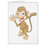 Cute Monkey Waving Hand Hi Hello Goodbye Greeting Cards