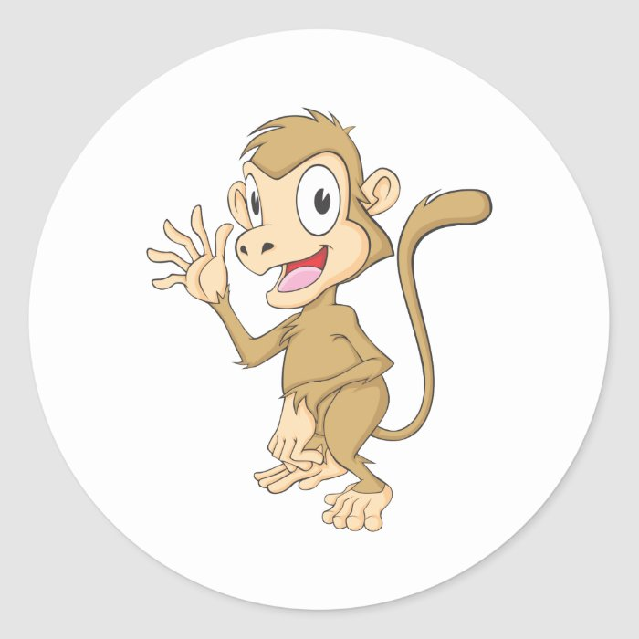 Cute Monkey Waving Hand Hi Hello Goodbye Classic Round Sticker