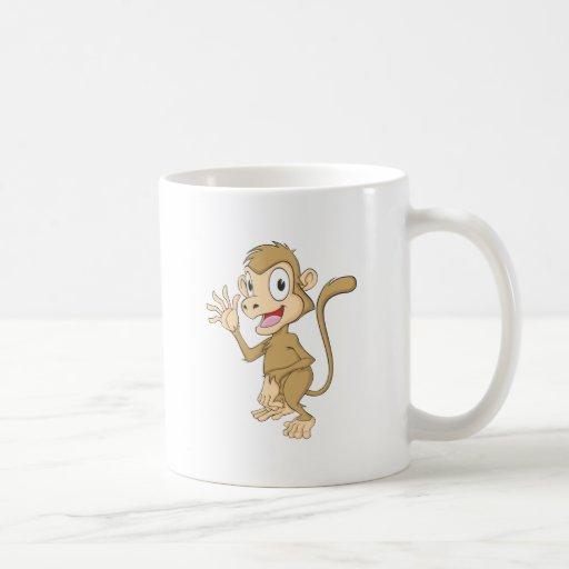 Cute Monkey Waving Hand Hi Hello Goodbye Coffee Mug