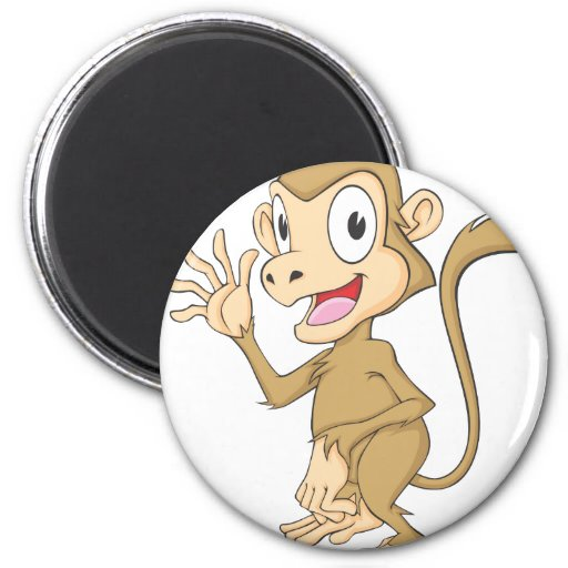 Cute Monkey Waving Hand Hi Hello Goodbye 2 Inch Round Magnet