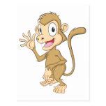 Cute Monkey Waving Hand Hi Hello Goodbye Post Cards