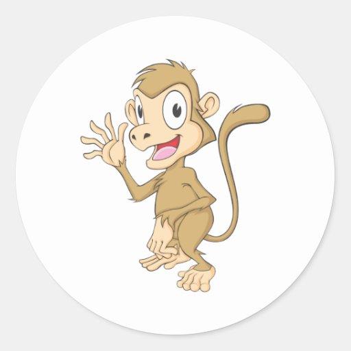 Cute Monkey Waving Hand Hi Hello Goodbye Round Sticker