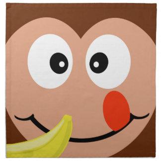 Cute Monkey With Banana Kids Cloth Napkins