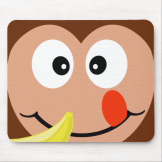Cute Monkey With Banana Kids Mouse Pad