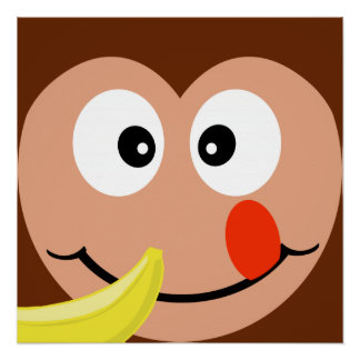 Cute Monkey With Banana Kids Poster