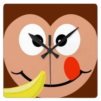 Cute Monkey With Banana Kids Wall Clock