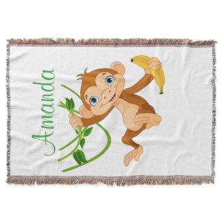 Cute Monkey with Banana Throw Blanket