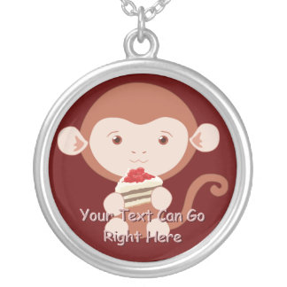 Cute Monkey with Cake Slice Necklace