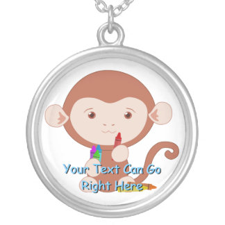 Cute Monkey with Crayons Necklace