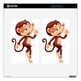 Cute monkey with flower smiling kindle fire decals