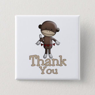 Cute Monkey With Hearts Thank You Button