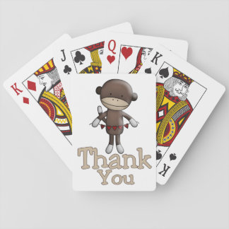 Cute Monkey With Hearts Thank You Poker Deck
