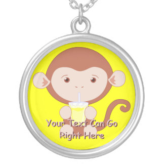 Cute Monkey with Lemonade Necklace