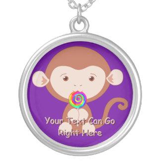 Cute Monkey with Lollipop Necklace