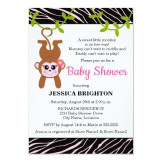 Cute Monkey Zebra Stripes Baby Shower Invitations