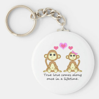 Cute Monkeys - True Love Comes Along Once in a... Basic Round Button Keychain