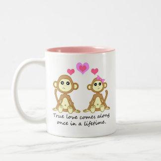 Cute Monkeys - True Love Comes Along Once in a... Two-Tone Coffee Mug