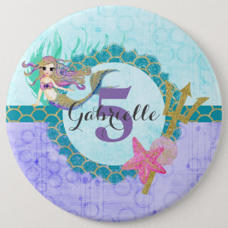 Cute Monogram Age Mermaid Teal & Purple Birthday Pinback Button