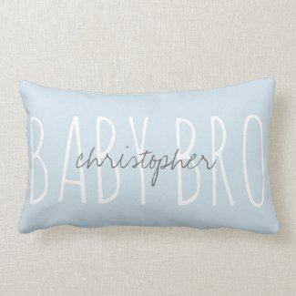 Cute monogram BABY BRO w/ name Lumbar Pillow