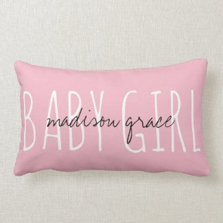 Cute monogram BABY GIRL w/ name Lumbar Pillow