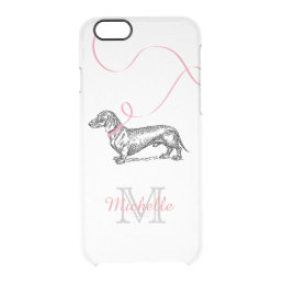CUTE MONOGRAM DOG LOVER | DACHSHUND PINK CLEAR iPhone 6/6S CASE