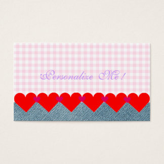 Cute Monogram Girly Hearts Modern Pink Denim Jeans Business Card