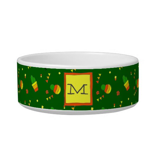 Cute Monogram  Hand_Drawn Cactus  Festive Fiesta Bowl