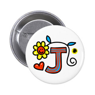 Cute Monogram Letter J Greeting Text Expression 2 Inch Round Button