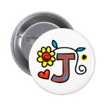 Cute Monogram Letter J Greeting Text Expression Pinback Button