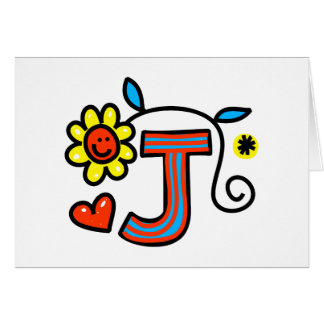 Cute Monogram Letter J Greeting Text Expression Card