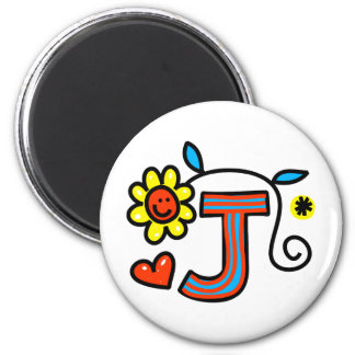 Cute Monogram Letter J Greeting Text Expression Magnet