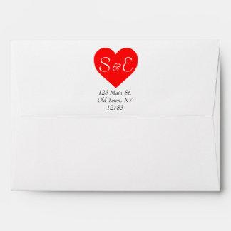 Cute Monogram Love Heart Return Address Envelope