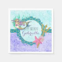 Cute Monogram Mermaid Teal & Purple Happy Birthday Paper Napkin