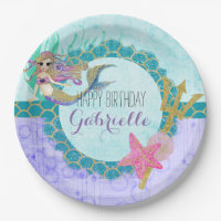 Cute Monogram Mermaid Teal & Purple Happy Birthday Paper Plate