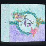 """Cute Monogram Mermaid Teal &amp; Purple Watercolor Binder<br><div class=""""desc"""">Cute Watercolor mermaid,  shells,  trident,  scales and starfish with Initial Monogram &amp; Name in Purple,  Aqua &amp; Teal with bubbles and Gold Glitter Accents. A fun girly mermaid design with Personalized Text.</div>"""