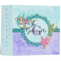 Cute Monogram Mermaid Teal & Purple Watercolor Binder