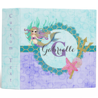 Cute Monogram Mermaid Teal & Purple Watercolor Binder