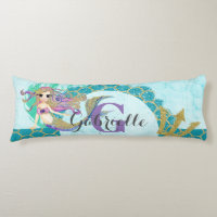 Cute Monogram Mermaid Teal & Purple Watercolor Body Pillow