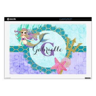 Cute Monogram Mermaid Teal & Purple Watercolor Cut Laptop Skin