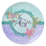 Cute Monogram Mermaid Teal & Purple Watercolor Dinner Plate