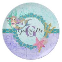 Cute Monogram Mermaid Teal & Purple Watercolor Dinner Plate