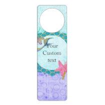 Cute Monogram Mermaid Teal & Purple Watercolor Door Hanger