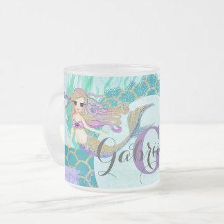 Cute Monogram Mermaid Teal & Purple Watercolor Frosted Glass Coffee Mug