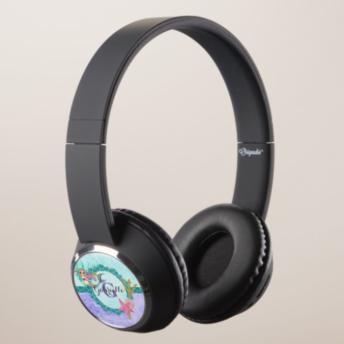 Cute Monogram Mermaid Teal & Purple Watercolor Headphones