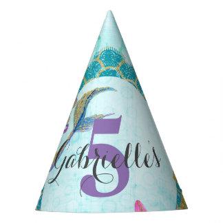 Cute Monogram Mermaid Teal & Purple Watercolor Party Hat