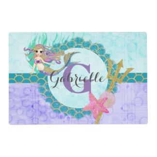Cute Monogram Mermaid Teal & Purple Watercolor Placemat