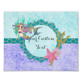 Cute Monogram Mermaid Teal & Purple Watercolor Poster