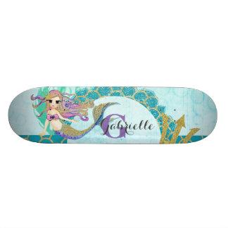 Cute Monogram Mermaid Teal & Purple Watercolor Skateboard Deck