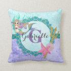 Cute Monogram Mermaid Teal & Purple Watercolor Throw Pillow